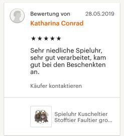 Fünf Sterne Bewertung zum Produkt Spieluhr Faultier: Sehr niedliche Spieluhr, sehr gut verarbeitet, kam gut bei den Beschenkten an.