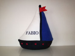 Formkissen Schiff, Namenskissen Schiff blau-weiß, 35cm