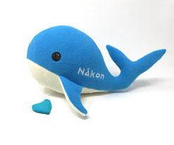 Personalisiertes Plüschtier für Spieluhr blau- weißer Wal 40cm, personalisierbare Farbe, Bestickung und Spieluhr- Melodie
