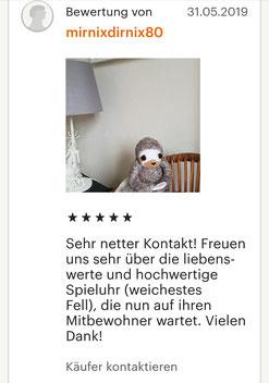 Fünf Sterne Bewertung für Spieluhr Faultier 40cm, von Kunden aus meinem Etsy Shop