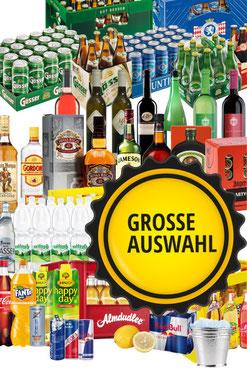 Grosse Auswahl an Getränken auf Getränketaxi.at
