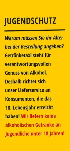 Jugendschutz bei Getränketaxi.at: Erst ab 18 Jahren