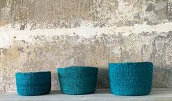 Runder Sisal Korb. Handgemacht und Fair aus Madagaskar. Grün