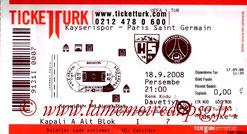 Ticket  Kayserispor-PSG  2008-09