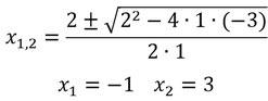 Einsetzen einer quadratischen Funktion in die Mitternachtsformel
