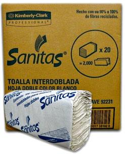 Caja de Toalla Interdoblada Sanitas. 20 Paquetes de 100 hojas