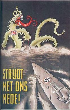 """""""¡Combate con nosotros!"""" Propaganda utilizada por Alemania en la que se refiere a Gran Bretaña como un monstruo marino."""
