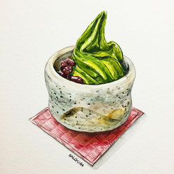 Matcha Soft Icecream Illustration