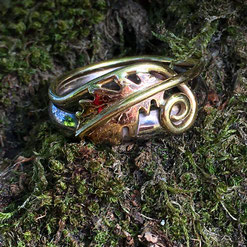 English Oak Leaf & Curled Tendril Ring