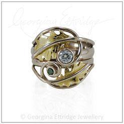 Oak Leaves Wedding Ring Set