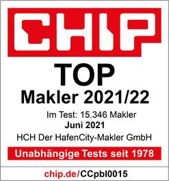 """Bestnoten für HCH Der HafenCity-Makler GmbH Gütesiegel """"TOP Makler 2021/22"""" und TOP-Detailbewertungen für HCH Der HafenCity-Makler GmbH in Hamburg"""
