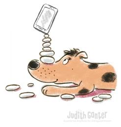 Hund balanciert Steine und Handy - Illustration, Judith Ganter Hamburg - Illustriertes Kopfkino für Alltagsoptimisten - Achtsamkeitstraining, Achtsamkeit Alltag, Achtsamkeit kreativ, Kreative Fotoideen für das Smartphone, im Hier und Jetzt, fotografieren