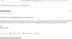 Bestätigungslink in der Email von Klubkasse.de anklicken