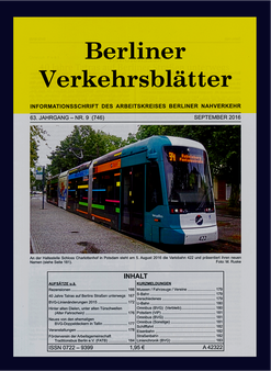Berliner Verkehrsblätter. Titel September 2016.