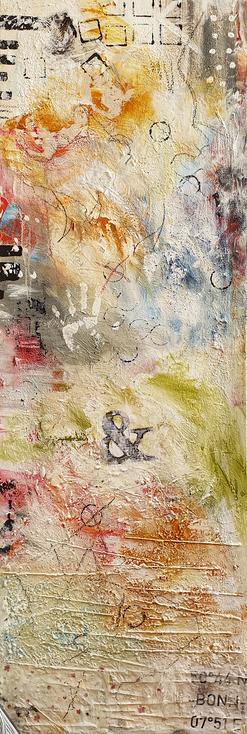 Artigkeit, Claudia Karrasch, Studio, Bonn, Malen, Kunst, Abstrakte Malerei, o.T. Acryl, Spachtelpaste, Spaghetti, Sand, Ölkreide, auf Leinwand, ca. 200 X 60 cm