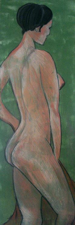 Artigkeit, Claudia Karrasch, Bonn, Malen, Abstrakte Malerei, Kunst, Studio, Akt Green, Acryl, Pastellkreiden, auf Leinwand, ca. 40 X 120 cm