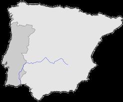 Spanien und Portugal mit dem Flußverlauf. Danke Wikipedia!!!Klick auf´s Bild für den Link