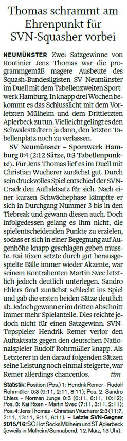 Nachbericht 6. Spieltag 2015/2016