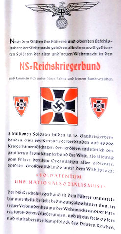 Broschüre des Reichskriegerbundes mit den Aufgaben und Zielen