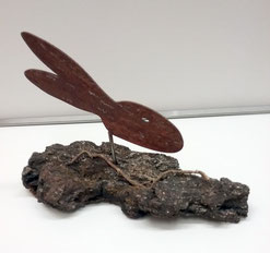 "Deko-Objekt ""Hase"", Metall auf Naturholzsockel"