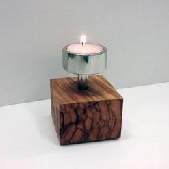 Teelichthalter Edelstahl mit Holzsockel