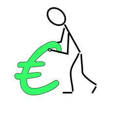 """Zeichnung eines Menschen mit einem großen """"€"""" vor sich"""