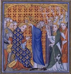 Sacre de Philippe VI, par Jean Froissart, Grandes Chroniques de France.BNF.Wikimedia.