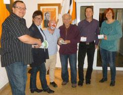 Von links nach rechts: Bertram Hlawatsch, Walburga Roth, Sepp Egerer, Franz Mayer sen. sowie Norbert Moser und Barbara Fieger