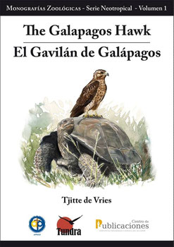 """Ilustración de Portada de """"El Gavilán de las Galápagos/ The Galapagos Hawk"""". Diego Ortega Alonso."""