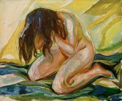 E. Munch, weibl. Akt knieend, 1919