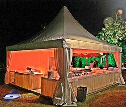 Pagoden und Pavillons mit Planenverkleidung
