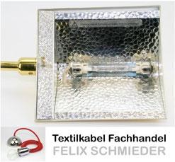 R7s Hochvolt Halogenstab Fassung im Deckenfluter mit Schraubgewinde und Sechskantmitter