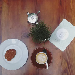 ANZAC biscuits and third wave coffee at cafe Katies Blue Cat