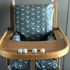 coussin chaise haute blue birds