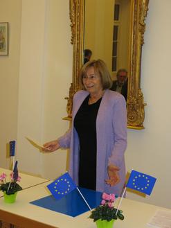 Helene Breining bei ihrer Dankesrede