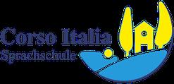 """Logo mit Bildmotiv """"Toskanische Lanschaft"""" und dem Schriftzug """"Corso Italia Sprachschule"""""""