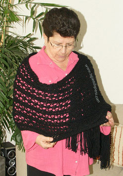 Cómo tejer una pashmina o chal calada en dos agujas o palitos