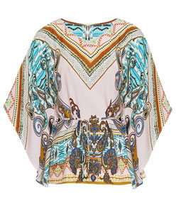 modische Bluse mit Fledermausärmeln Paisley-Druck
