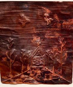 銅板レリーフ制作のworkshop参考作品「教会へ」satoshi takehana