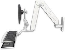 ASELP5220-WT-KUP : ガススプリング内蔵 昇降式 壁面固定ロングアーム ディスプレイキーボード用