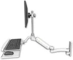 ウォールマウント 壁取付用 ガススプリング内蔵 昇降式 ディスプレイキーボード用ワークステーションアーム 10.5インチ(約27cm)延長アーム付 :ASUL180EV7-W3-KUB-A1