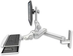 AST2P2020-WT2-KPB : ロングモニターアーム ウォールマウント 壁面固定 ディスプレイキーボード用アーム