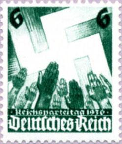 Timbre nazi représentant le salut fasciste en 1936.