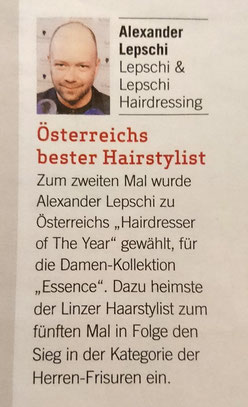 Bericht von Weekend Magazin (Juni 2019) - Alexander Lepschi ist Hairdresser of the Year 2019