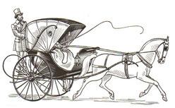 Carroza con  caballo : Cabriolet para los albergues del Castillo Bella Epoca .