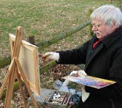 Wolf-Dietmar Stock beim Malen in Fischerhude
