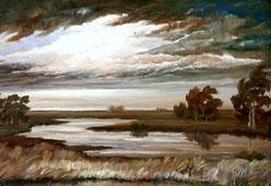 Gewitterstimmung über dem Teufelsmoor, Ölgemälde von Heinz Dodenhoff (1965)