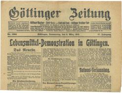 Göttinger Zeitung, 06.03.1919: Demonstration in Göttingen. StA Göttingen