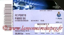 Ticket  Porto-PSG  2012-13