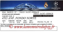 Ticket  Real Madrid-PSG  2017-18
